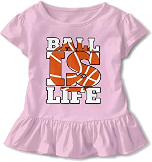 Toddler Girls Funny Short Sleeve T-Shirt Ball is My Life Baby Girls Lotus Leaf Edge Kid Outfits