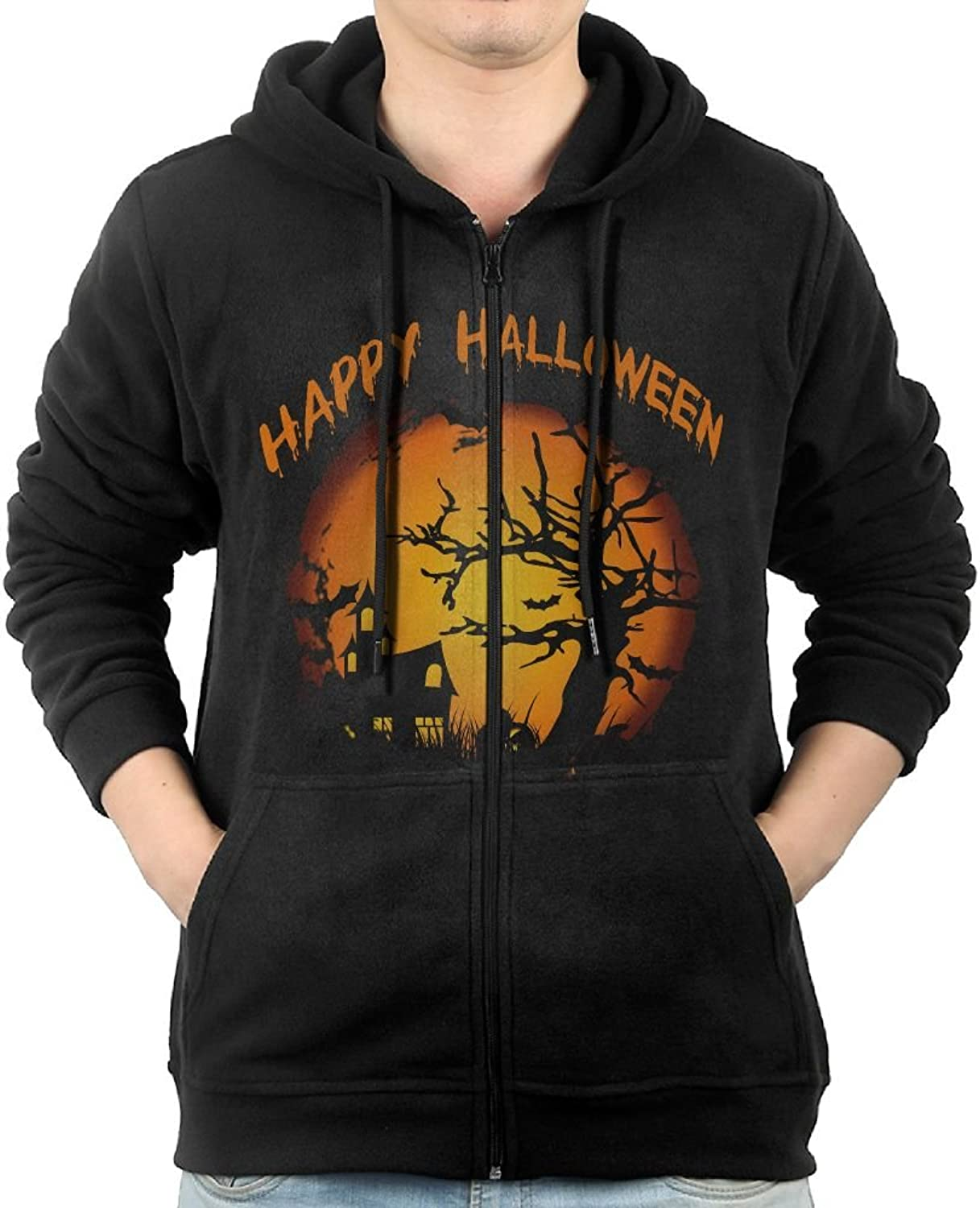Happy Halloween Sweater Shirt Zipper Jacket Breathable Hoodie For Mens Fit Jogging Black