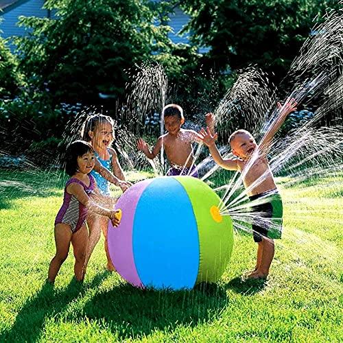 HBDY Opblaasbare bal sproeier speelgoed, 75CM Beach Spray en Splash Oranje Water Ball Toy voor kinderen Peuters Volwassenen Outdoor Fun in de tuin Achtertuin Beach (A)