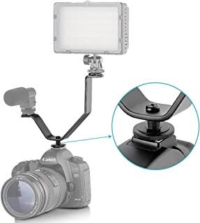 Neewer V shape Dual Mount Bracket Hot Shoe for Video Lights & Microphones on Cameras and Camcorders