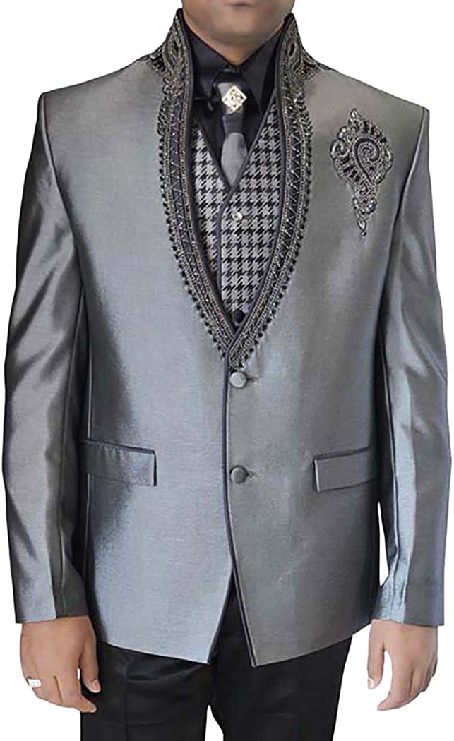 INMONARCH Mens Sharkskin 6 pc Tuxedo Suit Embroidered Collar TX11270