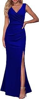 WOOSEA Women Sleeveless V Neck Split Evening Cocktail Long Dress