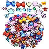 Flatback Acrylic Rhinestones, 880 Pieces Craft Gemstones Rectangular Round Heart Five-Pointed Star Bow Crown Butterfly Plum Gems Embellishments, Assorted Color, 8 Shapes