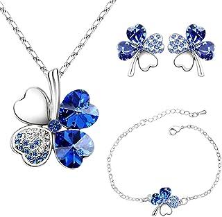 4 Hoja Trébol Collar Earrings Pulseras de trébol de cuatro hojas Colgante ajustable Juego de cadenas Peach Heart Rhineston...