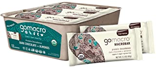 GoMacro MacroBar Organic Vegan Protein Bars - Dark Chocolate + Almonds (2.3 Ounce Bars, 12 Count)