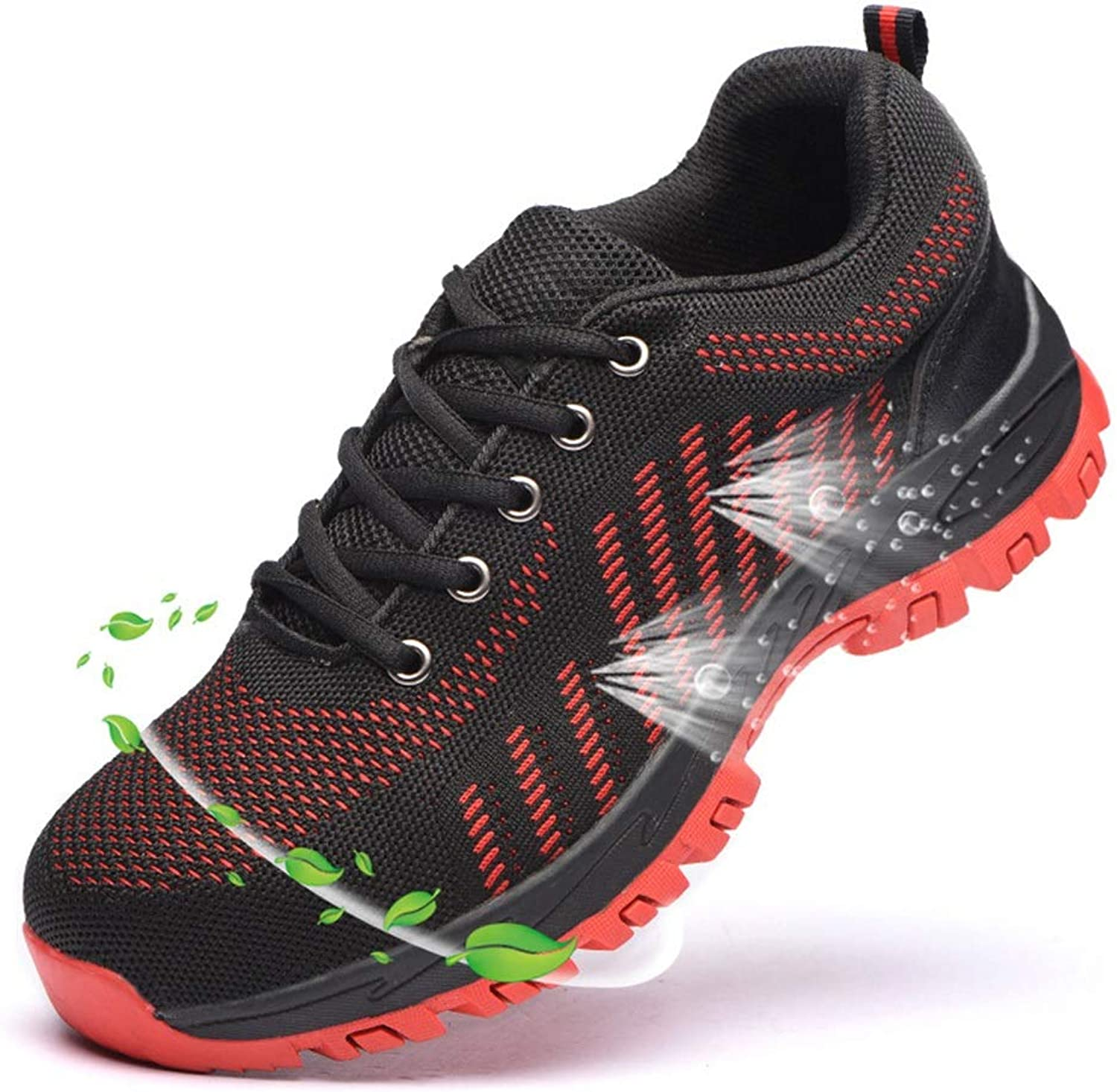 Easy Go Shopping Anti-smashing Anti-piercing Summer Breathable Safety shoes Safety shoes Predective shoes Cricket shoes (color   Red, Size   46)