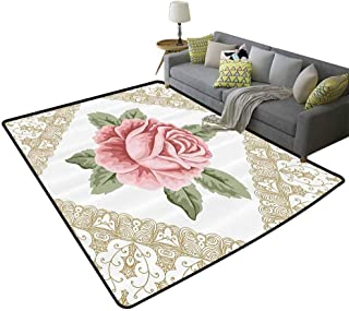 Floral Throw Rug, Lace Ornate Vintage Rose Petal Floret Shabby Chic Pattern Area Silky Smooth Rugs Slip-Resistant Extra Absorbent, 6.6`x9.8` Light Pink Reseda Green d Brown
