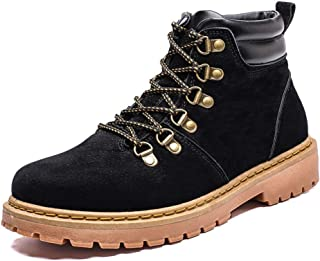 Xiang Ye Men's Fashion Ankle Boots Casual Classic Lacing Up Round Toe High Top Leisure Shoes (Color : Black, Size : 6.5 UK)