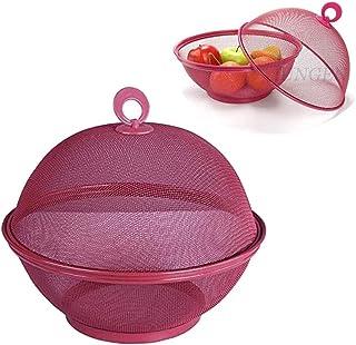 JUNGEN Panier De Fruits Portable Corbeille À Fruits en Plastique avec Couvercle Boîte De Rangement pour Table À Manger