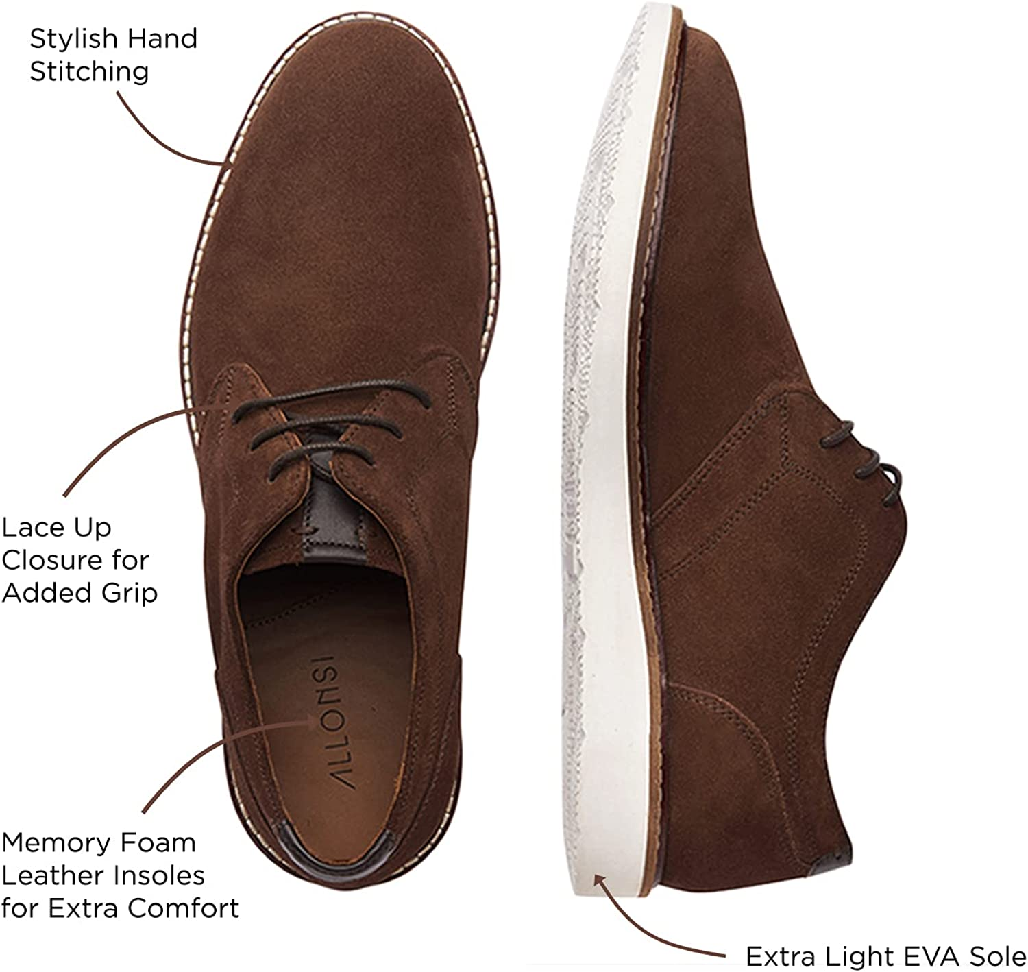 Allonsi | Genuine Leather Suede Shoes | Men's Casual Suede Sneakers | Comfortable Everyday Casual Shoes | Flexible Sole | Cushioned Foot Support | Handcrafted Detailing | Quality Craftsmanship