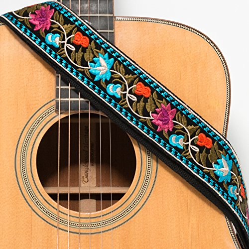 CLOUDMUSIC Guitar Strap Acoustic Electric Bass Embroidered With Leather Ends Vintage Classical Pattern Design Guitar Picks Free (Blue Pink Flower)