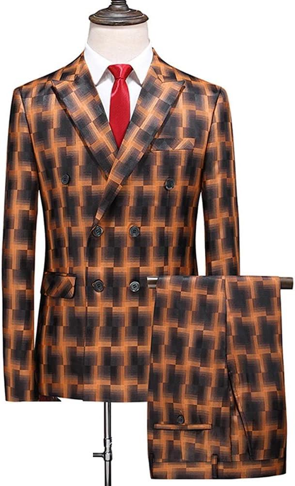SSMDYLYM Plaid Men Suit Double Breasted Wedding Groom Formal MensPlus Blue Male Suits/Jump Suit (Color : Orange, Size : L for 55 to 60kg)
