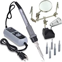 Sywon 60W ESD Soldering Iron Station Kit with Soldering Holder Stand, Adjustable Temperature Control Module, On Off Switch and 5 Extra Tips