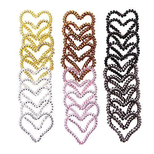Yppss 6pcs Coeur en Spirale Cravate Cheveux Non Crease élastique Ponytail Porte-téléphone Cordon Traceless Ties Cheveux for Les Femmes et Les Filles Cheveux Multi (Color : Brown)