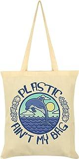 Plastic Ain't My Bag Cream Tote Bag 38x42cm