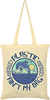 Plastic Ain't My Bag Cream Tote Bag 38x42cm