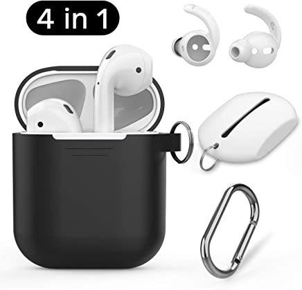 AhaStyle AirPods Accessories Set Silicone Protective Case Cover with Carabiner and AirPods Hooks for Apple AirPods (Black Case White Hooks)