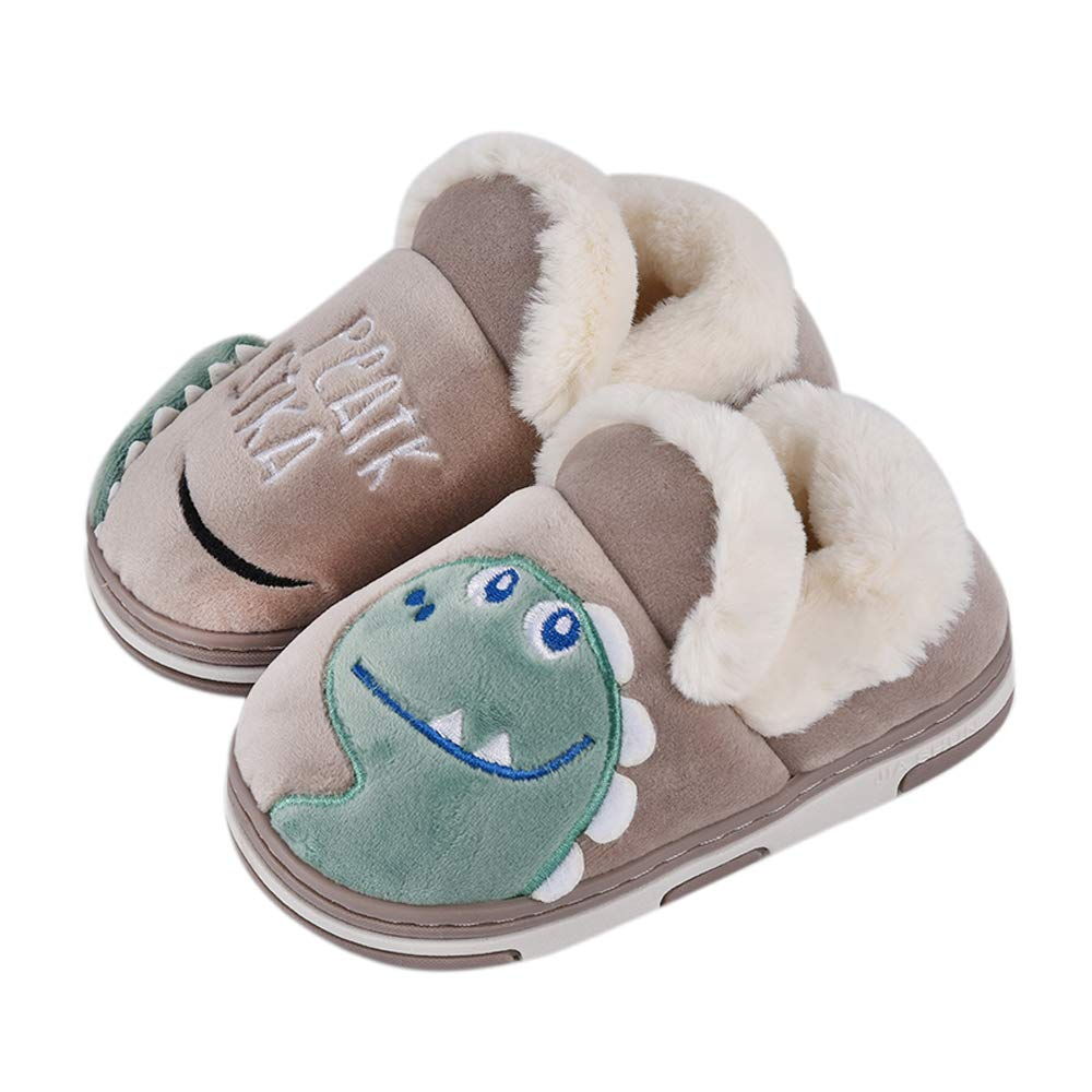SITAILE Boys Girls Toddler House Slippers,Kids Fur Lined Warm Slip On Home Slippers Cute Winter Nonslip Indoor Slippers