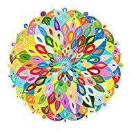Bgraamiens Puzzle-Blooming Color-1000 Pieces Color Challenge Blue Board Round Jigsaw Puzzles