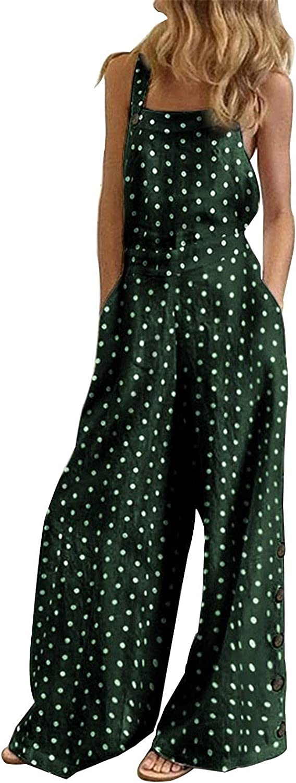Women's Sleeveless Overalls Jumpsuit Casual Summer Dot Print half Wid Max 79% OFF