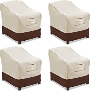 Vailge Patio Chair Covers, Lounge Deep Seat Cover, Heavy Duty and Waterproof Outdoor Lawn Patio Furniture Covers (4 Pack - Small, Beige & Brown)