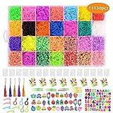 Ulikey 10000 Loom Bands, Caja Pulseras Gomas, Juego Creativo para Niños Caja Pulseras, Hacer Pulseras de Colores Loom Kit, 28 Colores