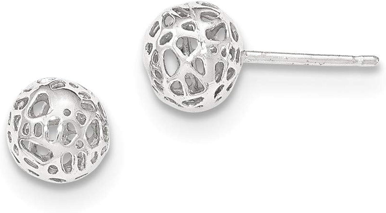 14K White Gold Medium Fancy Ball Post Earrings, 14k White Gold