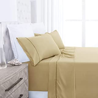 Beckham Hotel Collection Luxury Soft Brushed 1700 Series Microfiber Sheet Set - Hypoallergenic - Queen - Gold