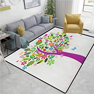 Skid-Resistant Rug Tree of Life Ornate Vibrant Floral Tree Flying Butterflies Fresh Colors Nature Image Home Gift for Children Multicolor