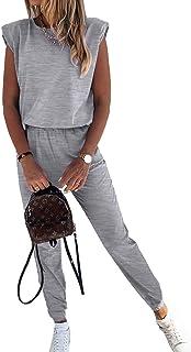 GOSOPIN Women Short Sleeve Sweatsuits Set 2 Piece Sweatpants Striped Tracksuits