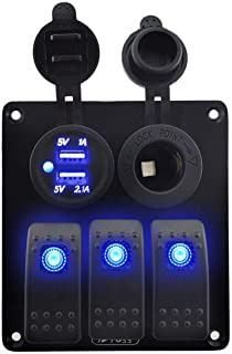 IZTOSS 3 Gang Rocker Switch Panel with Power Socket 3.1A Dual USB Wiring Kits and Decal Sticker Labels DC12V/24V for Marine Boat Car Rv Vehicles Truck Blue led