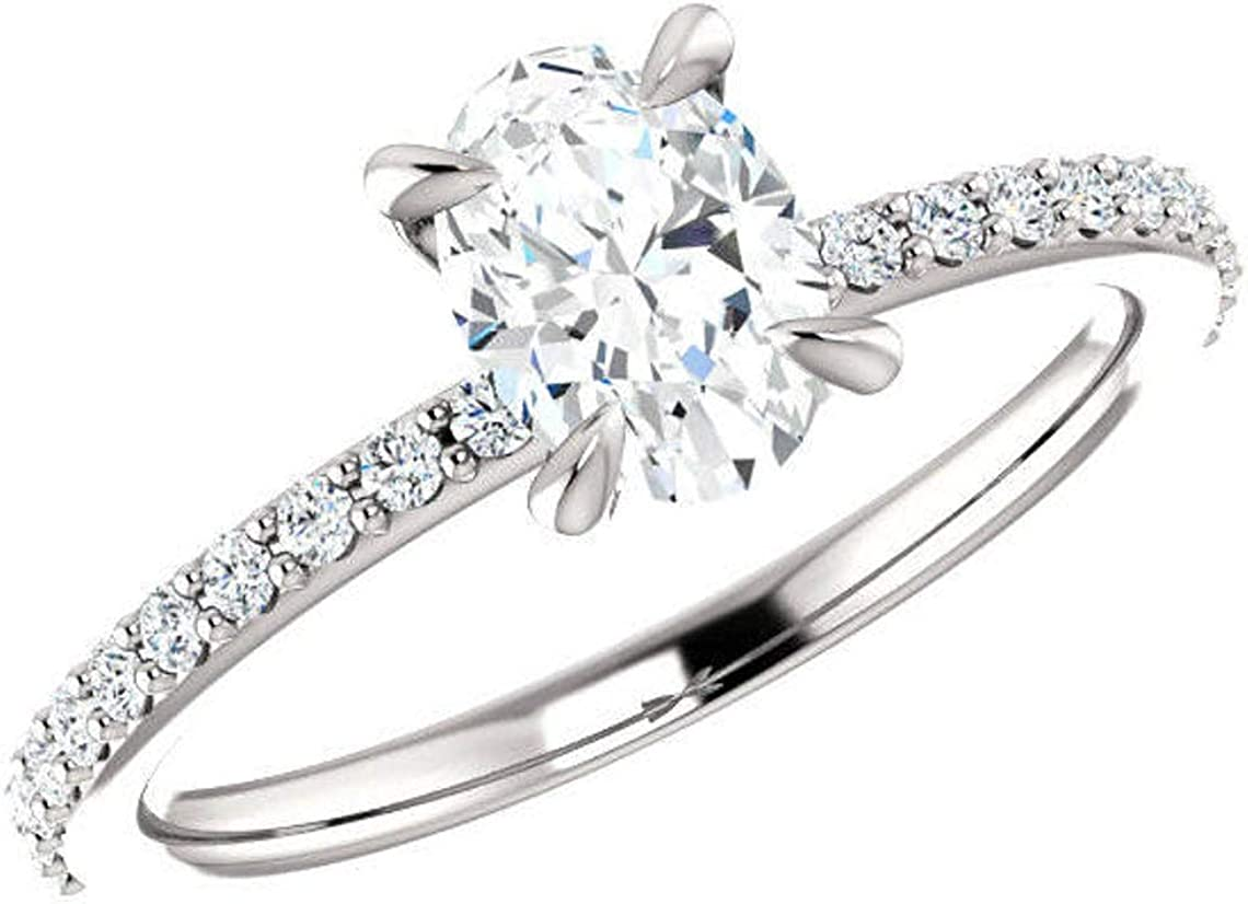 Bhumi Gems Cheap super special price 1CT Oval Cut Engagement Ring Moissanite Max 89% OFF Colorless Wed