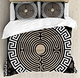 Ambesonne Greek Key Duvet Cover Set, Grecian Fret and Wave Pattern on Dark Background Antique Retro Swirls, Decorative 3 Piece Bedding Set with 2 Pillow Shams, King Size, Brown Coconut