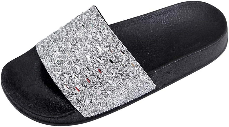 Xinantime Women Slipper Rhinestone Glitter Slide Slip On Flatform Footbed Sandal Slippers Kids Loafer Slip shoes