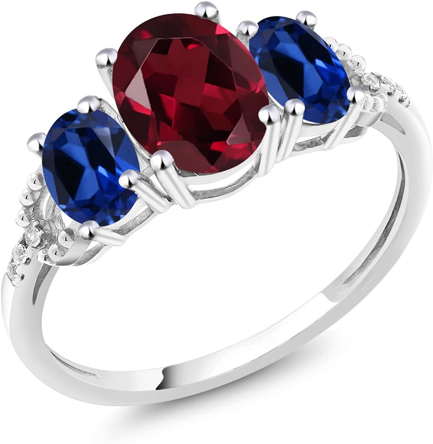 10K White gold Diamond Accent ThreeStone Engagement Ring set with 2.40 Ct Red Rhodolite Garnet & bluee Simulated Sapphire