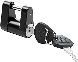 "METOWARE Trailer Hitch Coupler Lock, Black, 1/4"" Diameter, 3/4"" Span, Heavy-Duty Steel, Coupler Lock for Security Full Pro..."