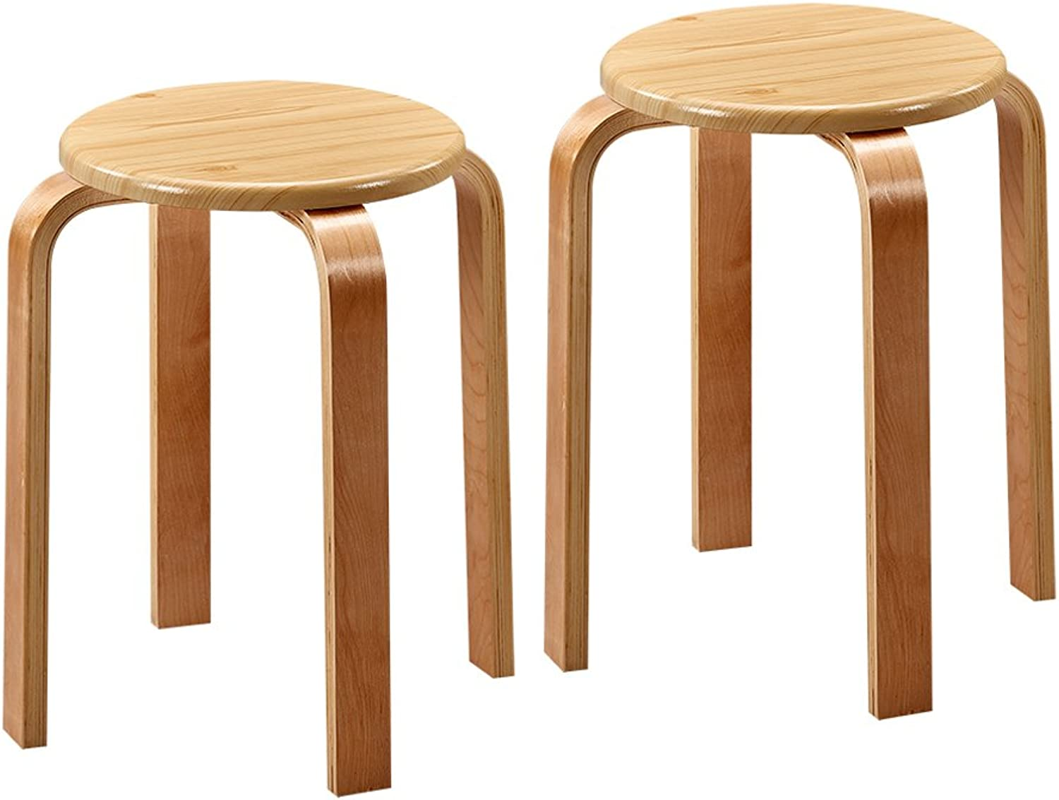 European Chair Plastic Stool, Home Fashion Simple Dining Table high Stool Bench Folding Step Stool Footstool (2 Pieces) (color   Wood)