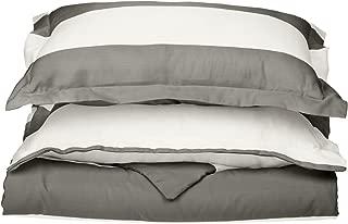 Cotton Blend 600 Thread Count, Soft, Wrinkle Resistant 3-Piece Full/Queen Duvet Cover Set, Cabana Stripe Grey