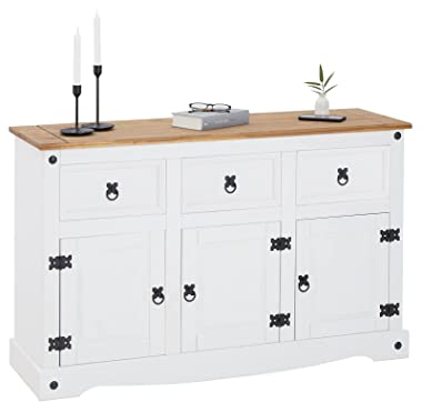 IDIMEX Buffet Campo Commode bahut vaisselier en pin Massif Blanc et Brun avec 3 tiroirs et 3 Portes, Meuble de Rangement Styl
