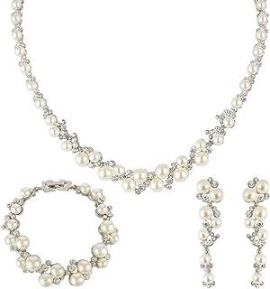 EVER FAITH Simulated Pearl Crystal Bridal Necklace Earrings Bracelet Set Clear