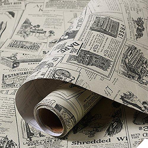 Yazi PVC-Tapete, selbstklebend, mediterraner Stil, wasserdicht, dick, für Wohnzimmer, Zeitung, 60 x 300 cm