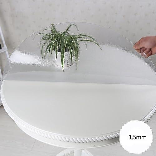 Qiao jin Tischdecke Matte runde Tischdecke, PVC Weißhes Glas runde Tischdecke Wasserdichte Tischdecke Rutschfeste Kristallplatte (Farbe   Round 1.5mm, Größe   Round 135cm)