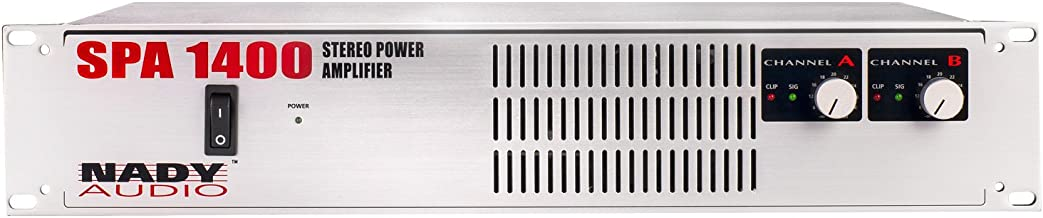 """NadySPA 1400 Rackmount Stereo Power Amplifier (500W/Channel @ 4 Ohms), paralleled & bridged mono modes, protection circuitry, XLR & ¼"""" inputs, banana & Speakon outputs"""