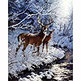 DIY 5D Diamond Painting for Adults,Ciervo de nieve Full Drill Diamond Painting by Numbers Kits Large Embroidery Cross Stitch Rhinestone Diamond Art Crafts for Home Wall Decor Gifts-60x90cm/24x36in