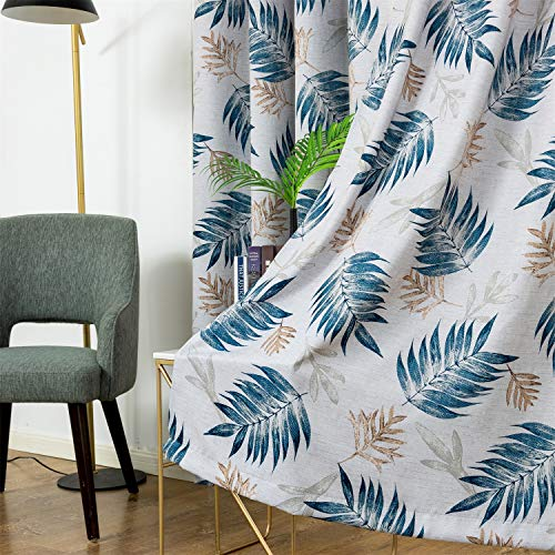 Anjee Blackout Curtains Panels with Tropical Plants Print Design - All Season Thermal Insulated Grommet Top, 84 inch Length for Living Room