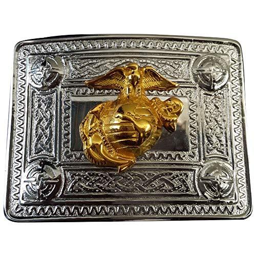 AAR Scottish Kilt Belt Buckle Chrome Finish Celtic Design with Different Gold Badges