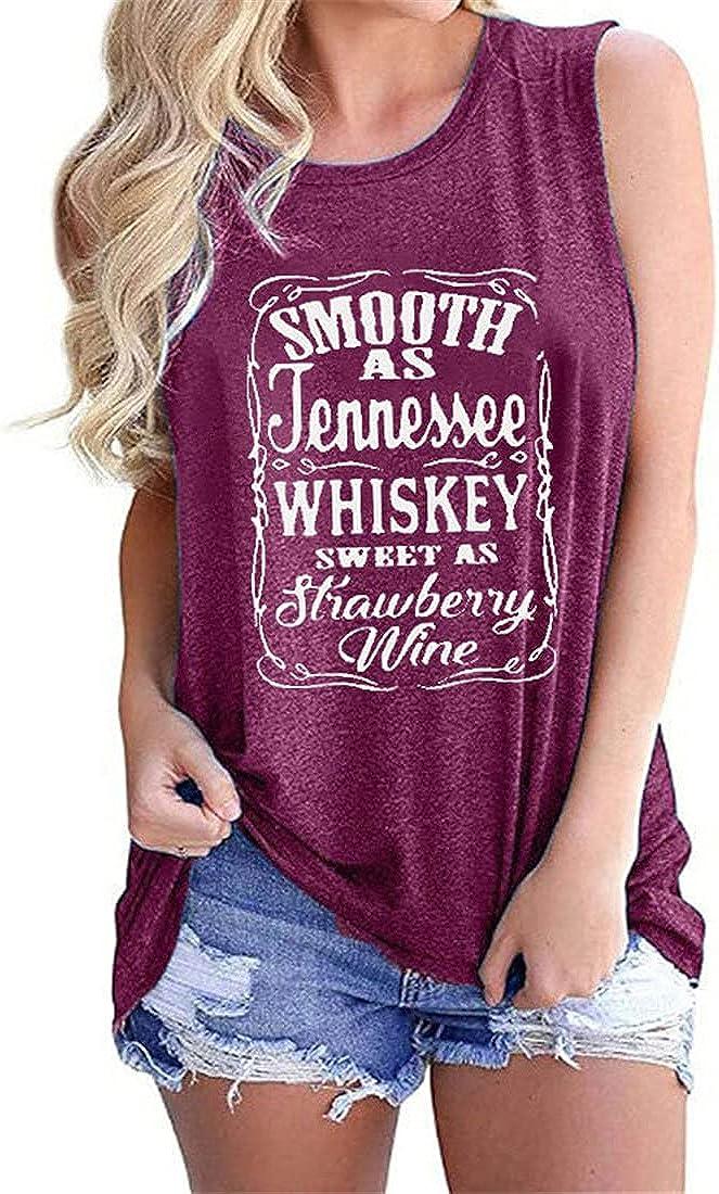 FRMUIC Women's Fun Letter Print T Shirt Round Neck Sleeveless Vest Fashion Casual Slim Shirt