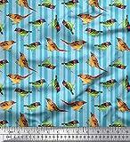 Soimoi Blau Baumwolle Batist Stoff Streifen & Spatz Vogel