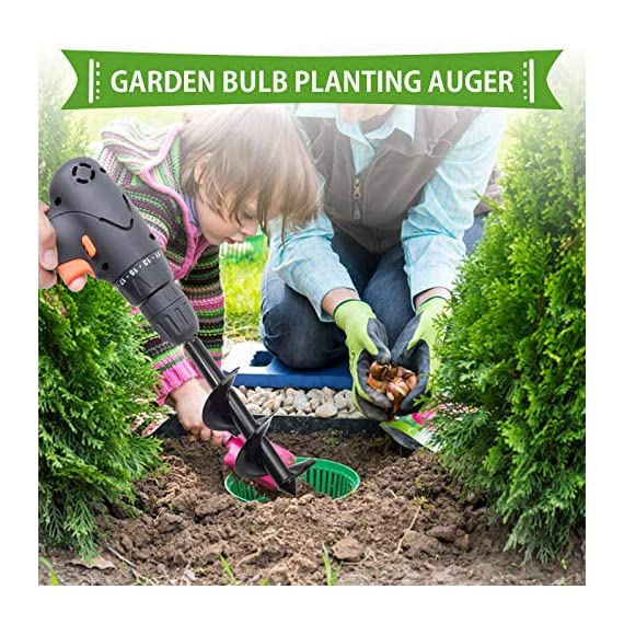 """SETROVIC Garden Spiral Hole Drill Planter 1.6""""x18"""" & 4""""x12"""" Garden Auger Bulb Planter Tool Rapid Planter Garden Drill Planter Hole Digger for 3/8"""" Hex Driver Drill 2-in-1 Set 5 【2-in-1 Set】1.6""""x18"""" & 4""""x12"""" bulb planter suitable for various planting requirements. Thickened and elongated drill enables easier drilling and thickened link rod is more durable and resistant, quickly digs holes up using the power of your hand held drill. 【High Quality Products】 Made of heavy duty steel, with premium glossy painted finish. The auger drill bit point on it hits the ground first and keeps it steady when you are digging hard grounds. The rod is connected with the shaft, it's difficult to break.This auger drill bit is suitable for most 3/8"""" hex drive drill. 【Efficient Planting】Our bedding plants drill bit will make hundreds of holes in few minutes, makes hole digging easier, it will save your time & save your back. The long size drill bit allows you to stand and dig. It can save much effort for you in massive digging."""