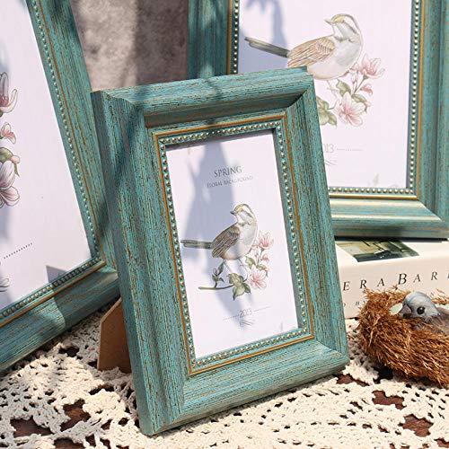QKEMM Bilderrahmen Modern Fotorahmen Souvenir Bilderrahmen Harz Set Den Tisch+Hängen An Der Wand 10,2×15,2cm Peacock Blue One